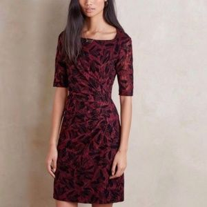 Anthropologie Maeve Elorn Burgundy Lace Midi Dress